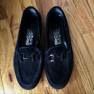 Salvatore Ferragamo Black Suede Loafers